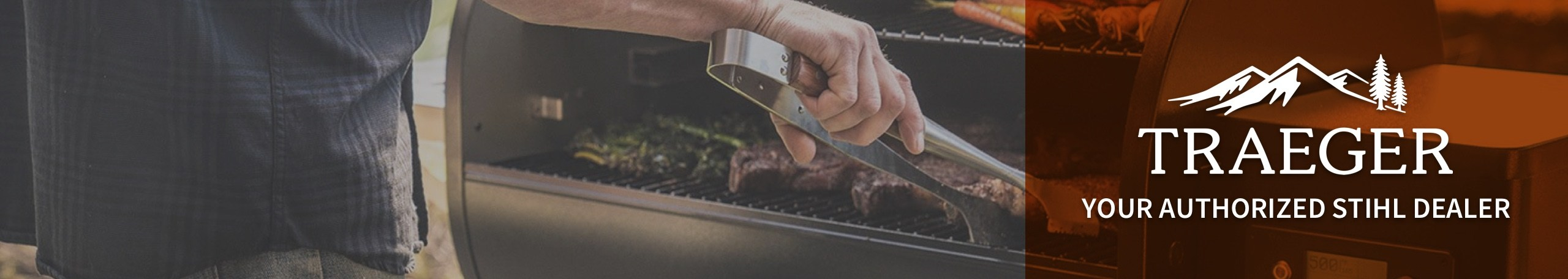 Traeger Grill with steaks and Traeger logo with Your Authorized Traeger Dealer subheading