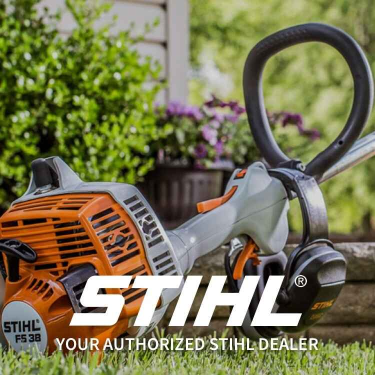 Stihl logo and weed eater with gloves and sunglasses with Your Authorized Stihl Dealer subheading