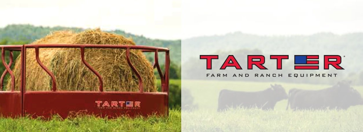 Tarter Farm and Ranch Equipment logo with hay and cows in background