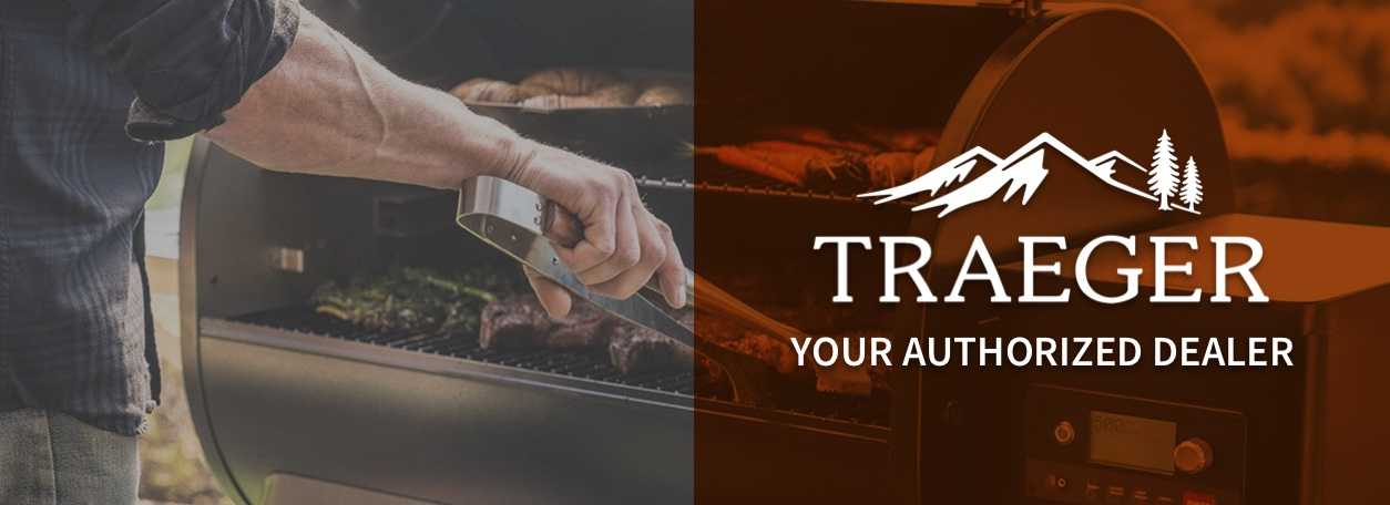 Traeger logo with person grilling in background - Your Authorized Dealer