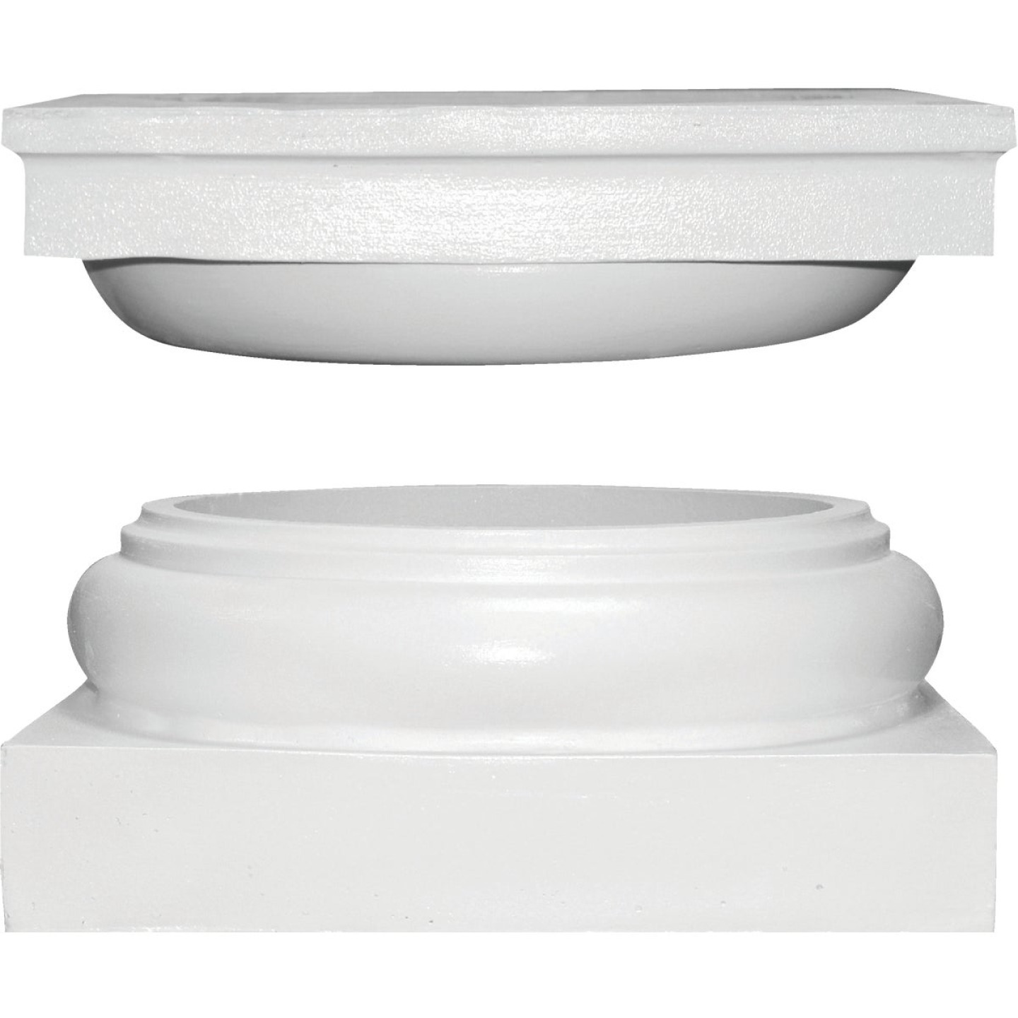 Crown Column Cap 9-1/2 In., Base 10-3/8 In. Unfinished Plastic Round Cap/Base Set Image 1