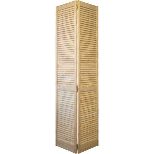 Jeld Wen 24 In. W. x 80 In. H. Pine Louver/Louver Natural Color Bifold Door