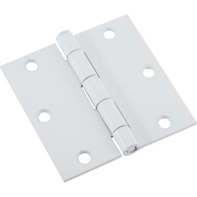 National 3-1/2 In. Square White Door Hinge