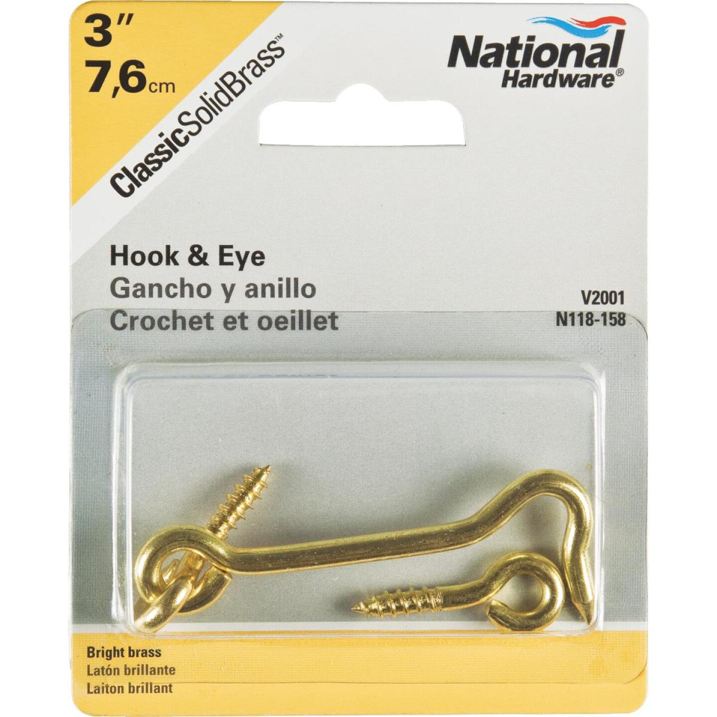 National Solid Brass 3 In. Hook & Eye Bolt Image 2