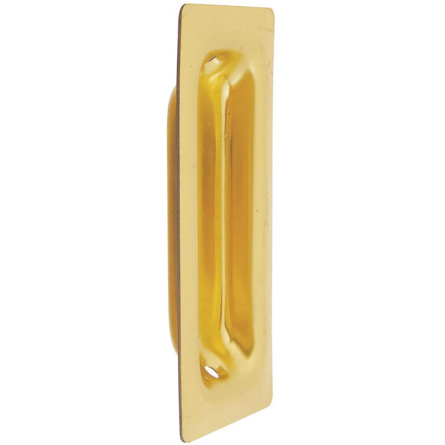 National 3-1/4 In. Rectangular Brass Flush Pocket Door Pull Image 1