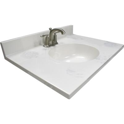 Modular Vanity Tops 31 In. W x 22 In. D Marbled Dove Gray Cultured Marble Vanity Top with Oval Bowl