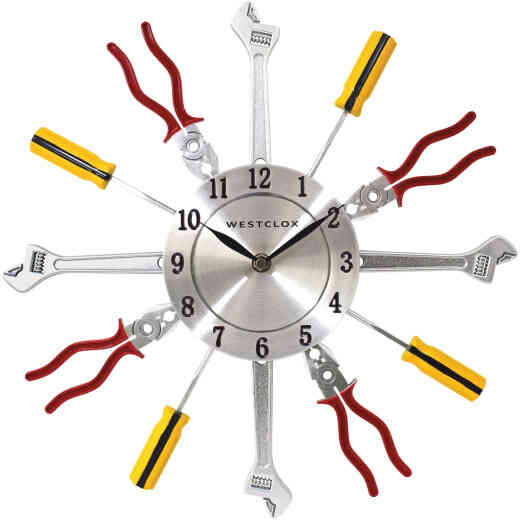 Westclox 14 In. Hand Tools Frame Wall Clock