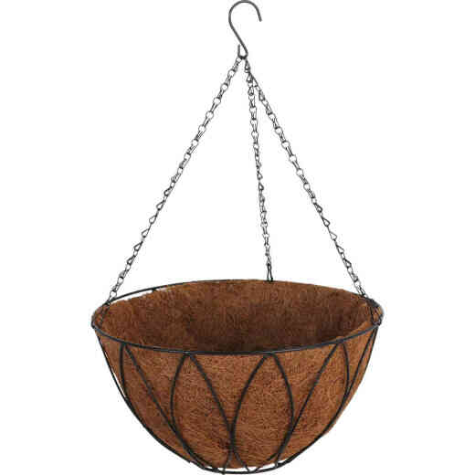Best Garden 14 In. Steel Rod Black Powder Coat Hanging Plant Basket